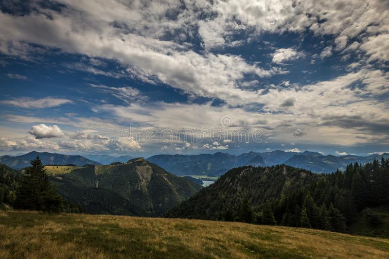 Mountain landscape with hiking trail and view of landscape around Wolfgangsee near Salzburg stock photography