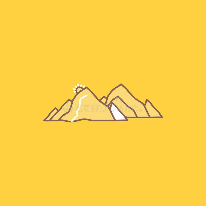 Mountain, landscape, hill, nature, scene Flat Line Filled Icon. Beautiful Logo button over yellow background for UI and UX,. Website or mobile application royalty free illustration