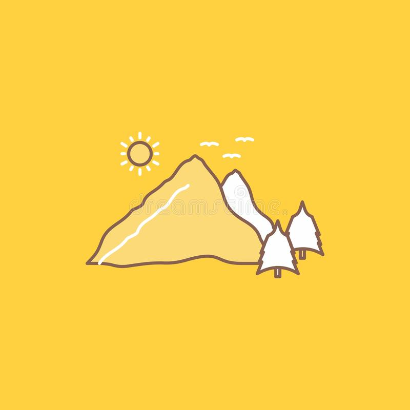Mountain, landscape, hill, nature, scene Flat Line Filled Icon. Beautiful Logo button over yellow background for UI and UX,. Website or mobile application vector illustration