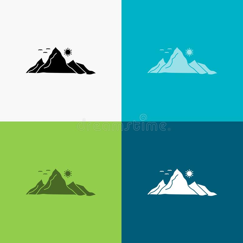 Mountain, landscape, hill, nature, sun Icon Over Various Background. glyph style design, designed for web and app. Eps 10 vector. Illustration. Vector EPS10 vector illustration