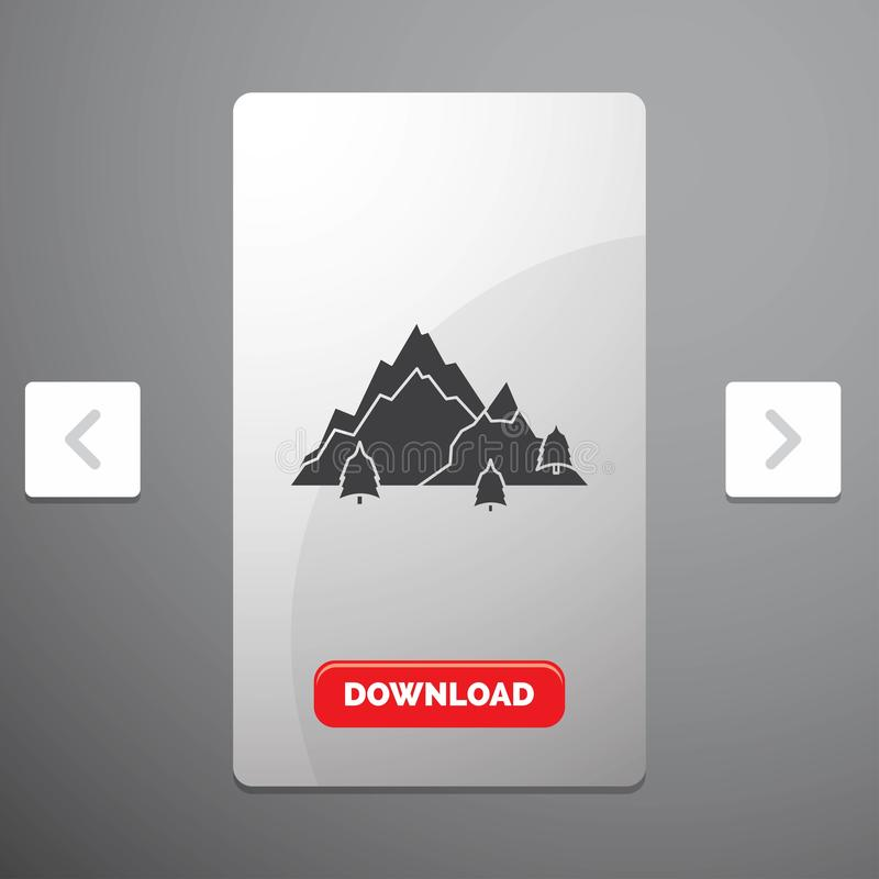 Mountain, landscape, hill, nature, tree Glyph Icon in Carousal Pagination Slider Design & Red Download Button. Vector EPS10 Abstract Template background vector illustration