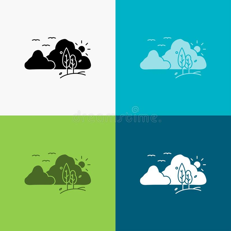 Mountain, landscape, hill, nature, tree Icon Over Various Background. glyph style design, designed for web and app. Eps 10 vector. Illustration. Vector EPS10 stock illustration