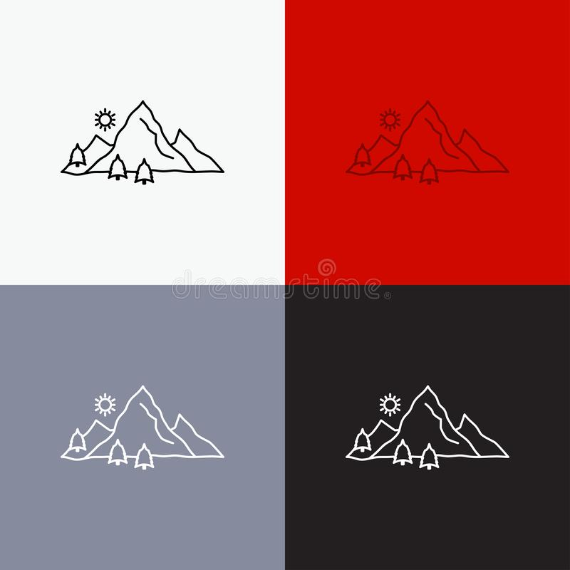 Mountain, landscape, hill, nature, tree Icon Over Various Background. Line style design, designed for web and app. Eps 10 vector. Illustration. Vector EPS10 vector illustration