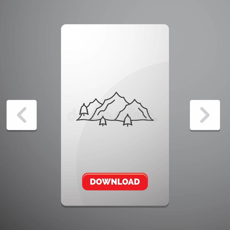 Mountain, landscape, hill, nature, tree Line Icon in Carousal Pagination Slider Design & Red Download Button. Vector EPS10 Abstract Template background stock illustration