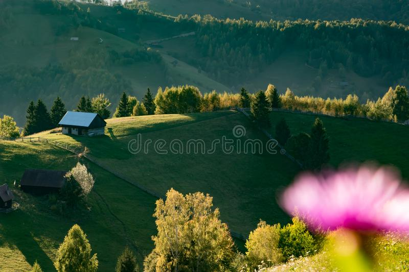 Mountain landscape house. Mountain landscape lscape light carpati cloud forest green sun view awesome tree royalty free stock photography