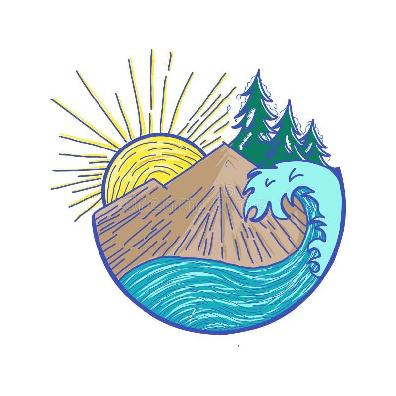 Mountain landscape icon Logo Business Template Vector, shape of the mountain line logo vector, logo app royalty free illustration