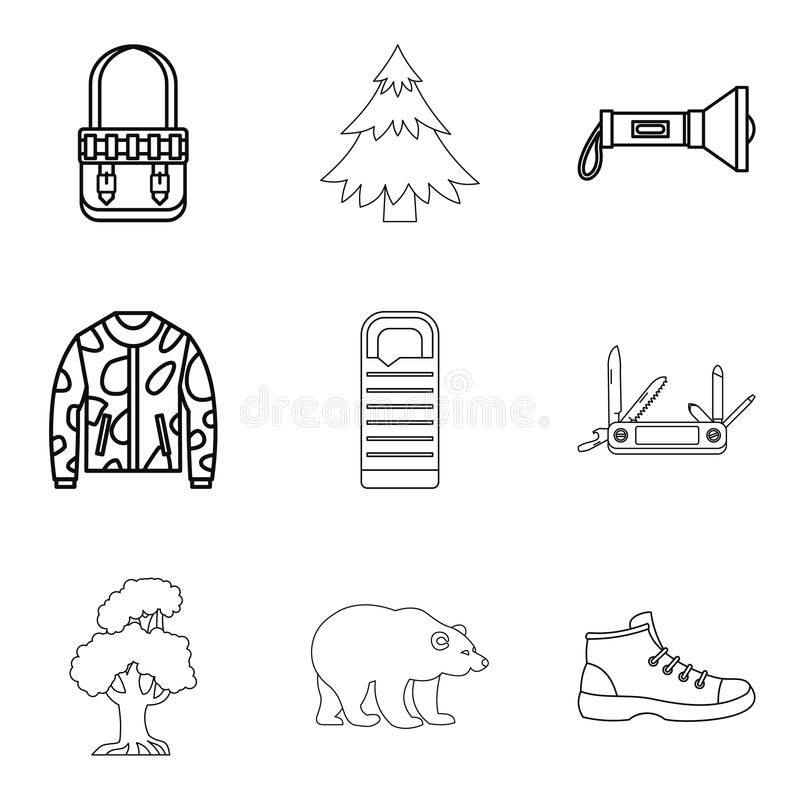 Mountain landscape icons set, outline style vector illustration