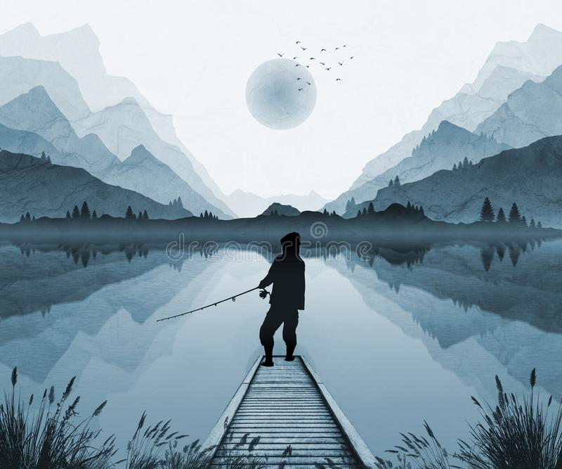 Mountain landscape illustration, with moonlight and mist in valley. Fisherman silhouetted on jetty. In moonlight stock illustration