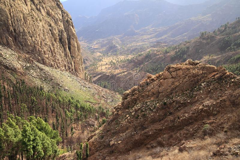 Mountain landscape of the island of La Gomera. Canary Islands. Spain royalty free stock image
