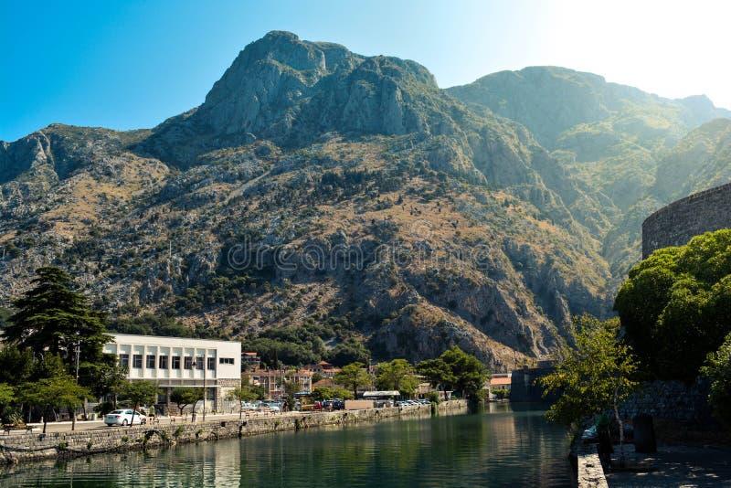 Mountain landscape in Kotor Bay stock photo