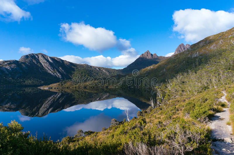 Mountain landscape with lake and hiking path royalty free stock photo