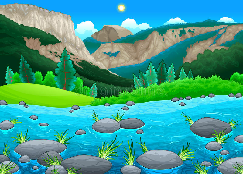Mountain landscape with lake royalty free illustration