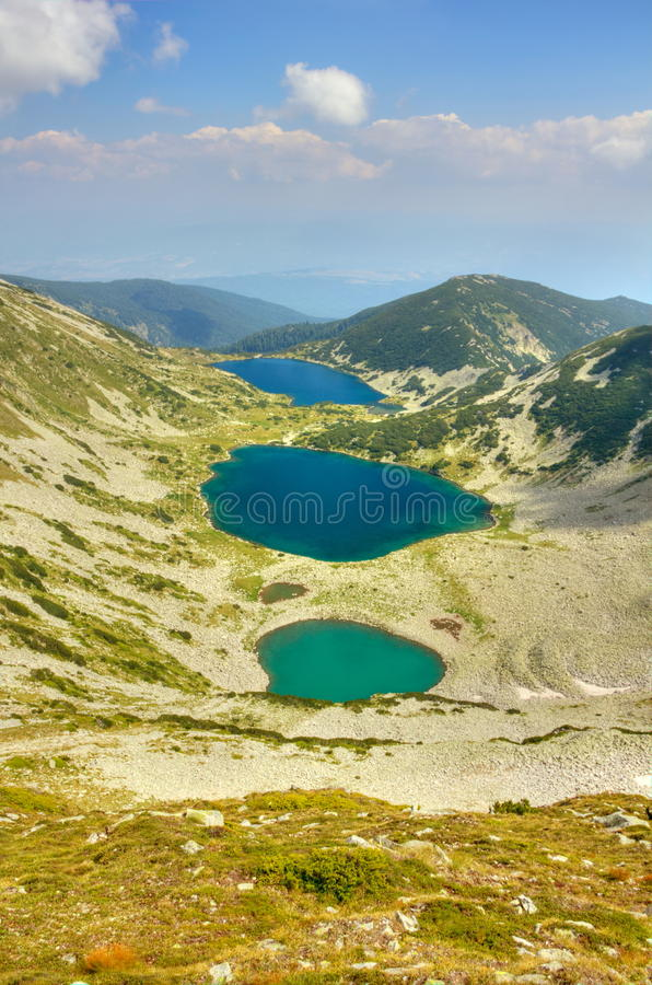 Mountain landscape with lakes royalty free stock photo