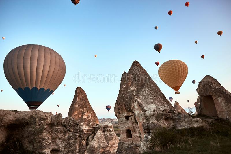 Mountain landscape with large balloons in a short summer season royalty free stock images