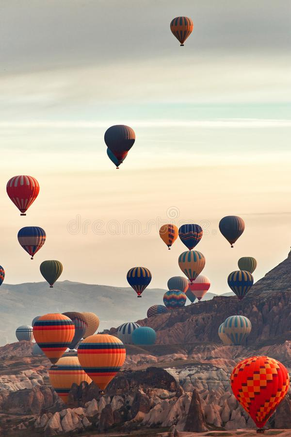 Mountain landscape with large balloons in a short summer season stock photo