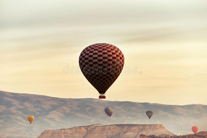 Mountain landscape with large balloons in a short summer season stock photography
