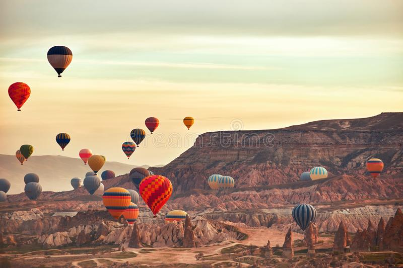 Mountain landscape with large balloons in a short summer season stock images