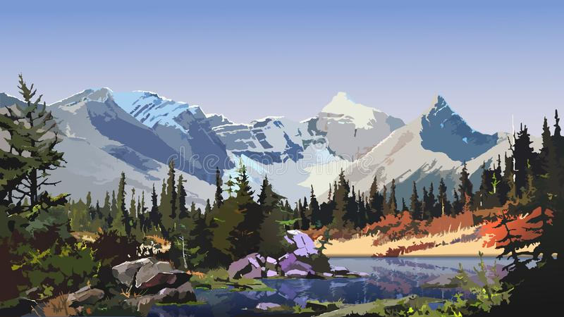 Mountain landscape, a large river flowing through wooded hills in warm weather. stock illustration
