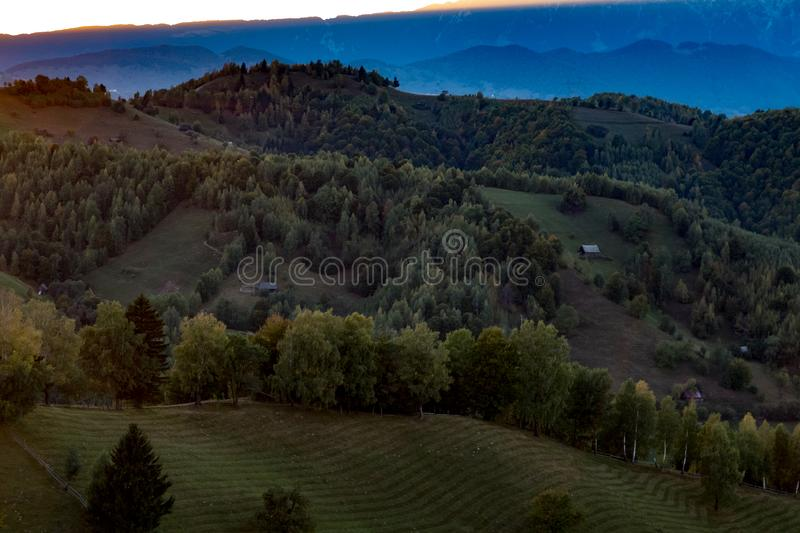 Mountain landscape house. Mountain landscape lscape light carpati cloud forest green sun view awesome tree stock photos