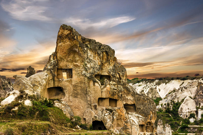 Mountain landscape in national park Goreme, Cappadocia, Turkey.  royalty free stock photos