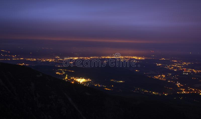 Mountain landscape at night stock images