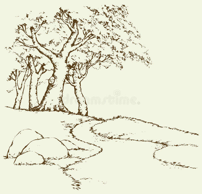 Mountain landscape with oak trees. Vector drawing. Big mount crag range with old oakwood plant on hilltop. Freehand outline ink hand drawn picture sketchy in art stock illustration