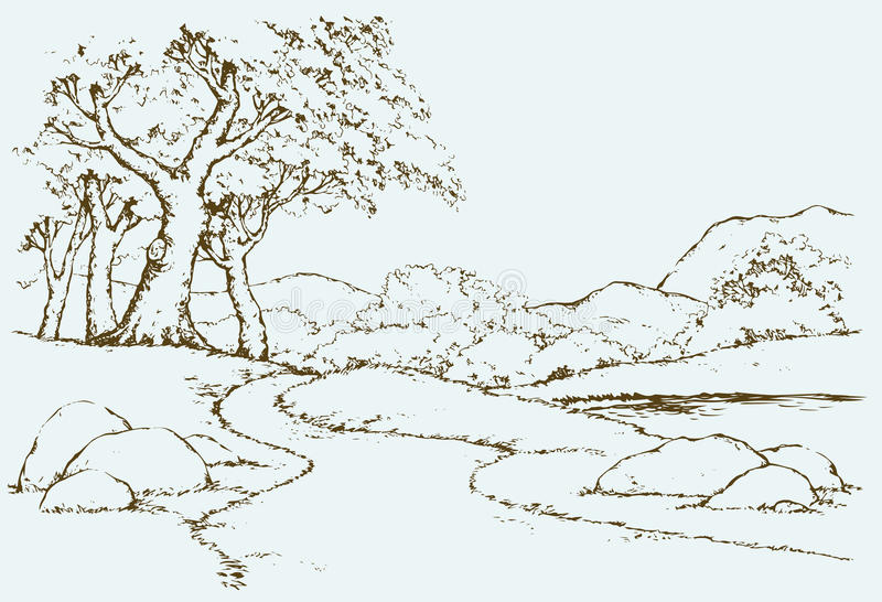 Mountain landscape with oak trees. Vector drawing vector illustration