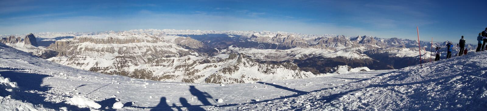 Mountain Landscape PANORAMA. Winter mountain view from the top of Marmolada in a sunny day - panorama - Dolomites, Italy 2007 stock photo