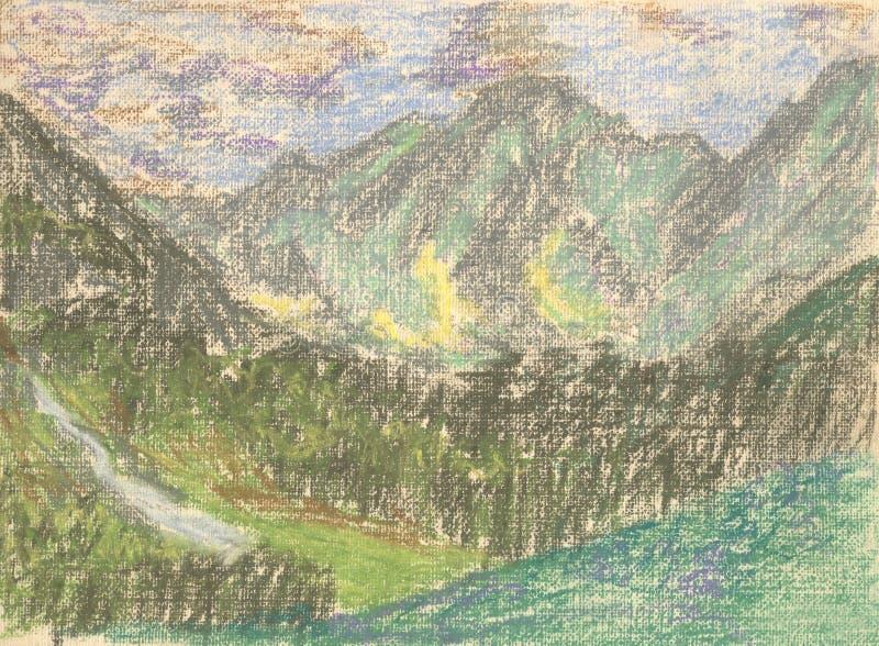 Mountain landscape, pastel drawing mountains on the horizon royalty free illustration