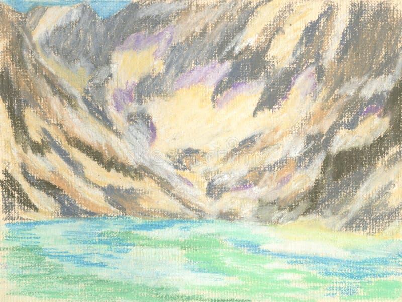 Mountain landscape, pastel drawing mountains on the horizon stock illustration