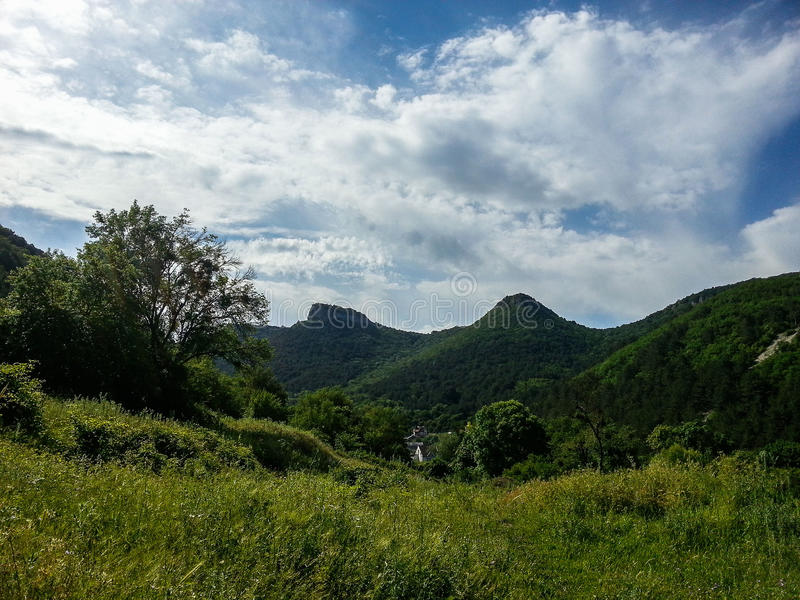 Mountain landscape on the Peninsula of Crimea. The Crimean Peninsula is one of the most beautiful places on the black sea coast. In the ancient time was stock photography