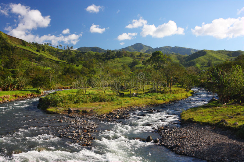 Mountain landscape with a river royalty free stock photography