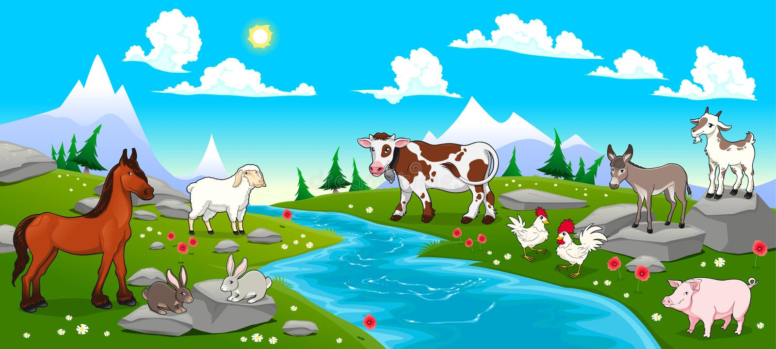 Mountain landscape with river and animals stock illustration