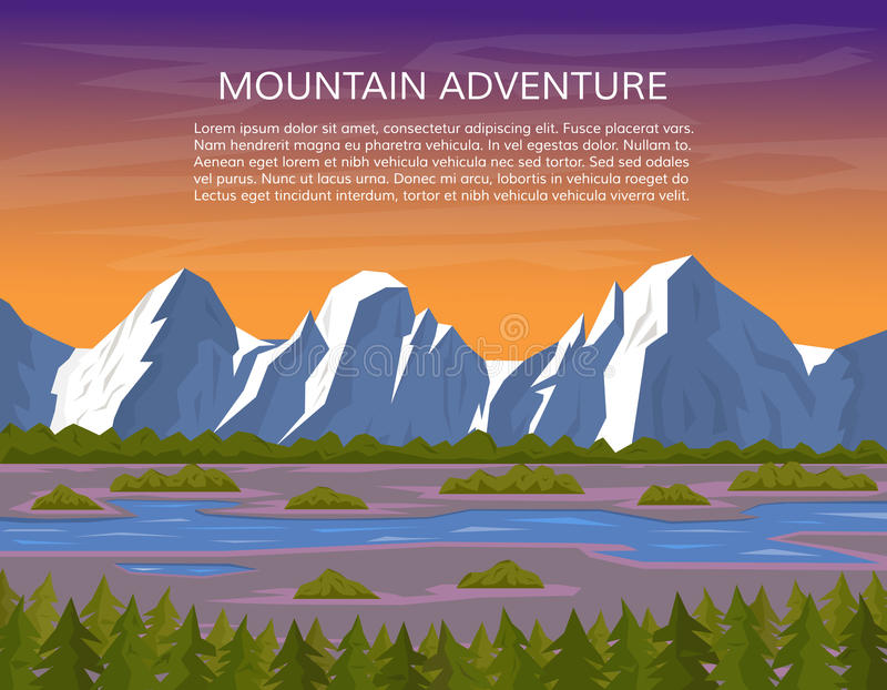 Mountain landscape with river and pine forest. vector illustration