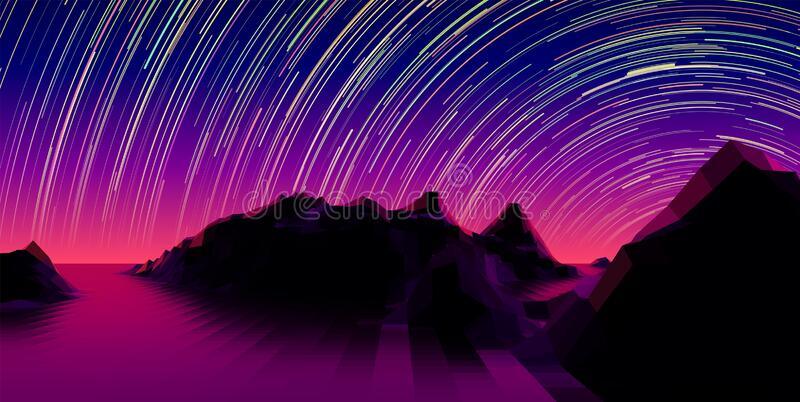 Mountain landscape with 80s styled synth wave polygonal grid and star trail over the purple horizon. Mountain landscape with 80s styled synthwave polygonal grid stock illustration