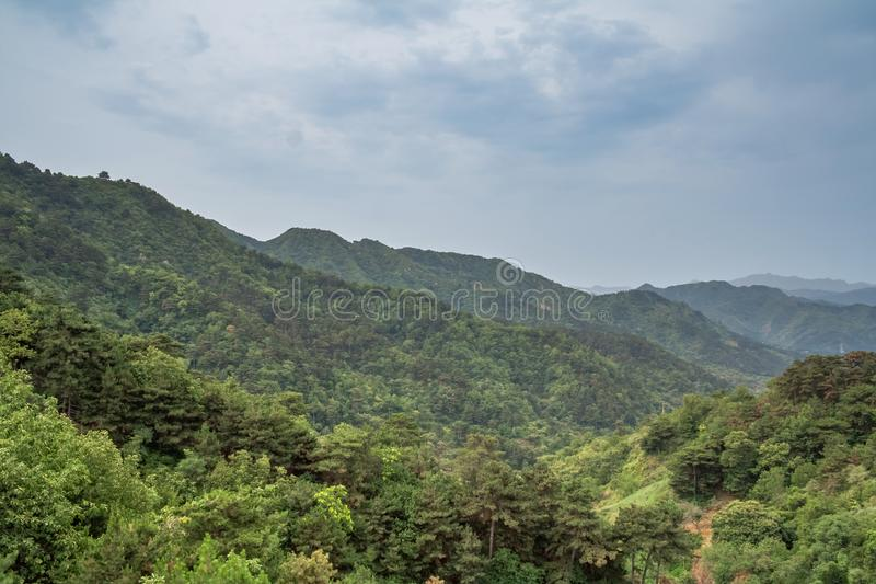 Mountain landscape seen from Mutianyu section of the Great Wall royalty free stock photos