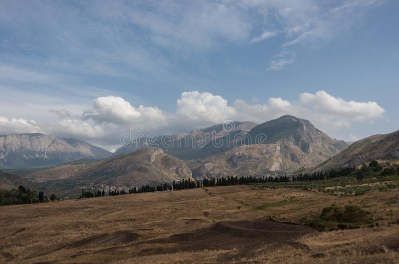 Mountain landscape of Sicily. North coast near Cefalu. stock image