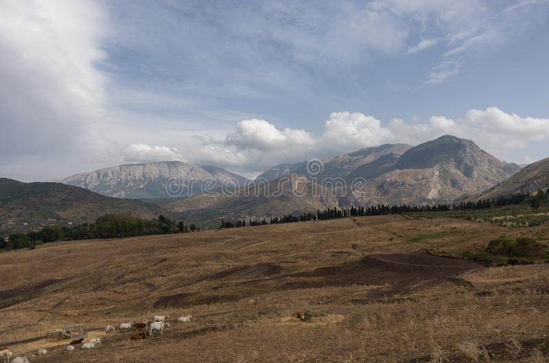 Mountain landscape of Sicily. North coast near Cefalu. Italy royalty free stock image