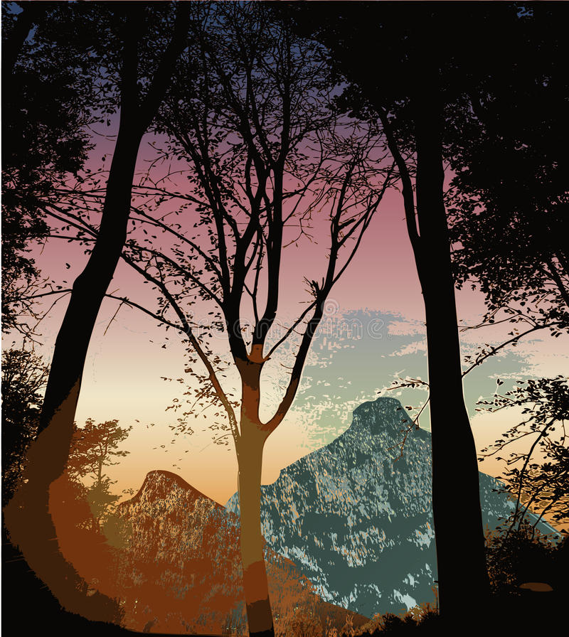 Mountain landscape with silhouettes of trees at sunset. Landscape with mountains hills and silhouettes of trees stock illustration