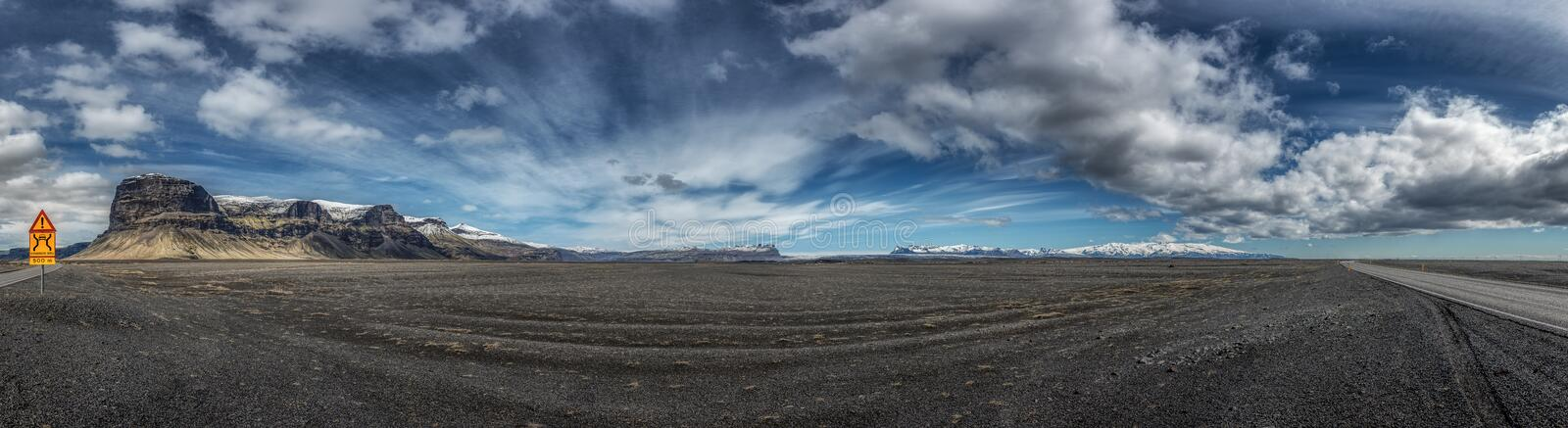 Mountain landscape in Skaftarhreppur - Iceland. Excellent panoramic of 15 shots - Excellent panoramic of 15 shots royalty free stock photos