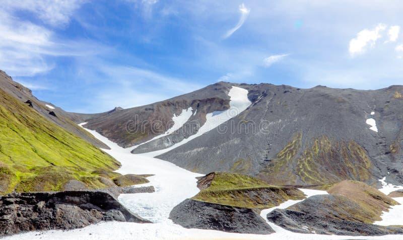 Mountain landscape with snow in Iceland. Landmannalaugar, Fjallabak Nature Reserve. royalty free stock photos