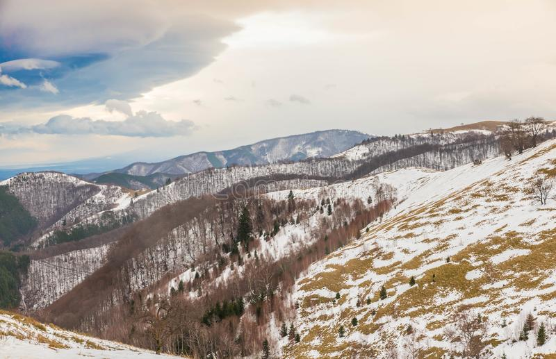 Download Mountain Landscape And Stormy Clouds Stock Photo - Image of ground, snow: 105037568