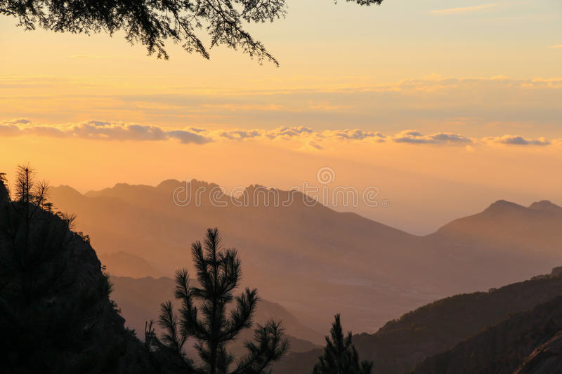 Mountain landscape at sunrise, Corse, France. royalty free stock photography