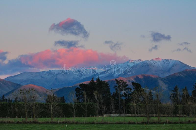 Mountain landscape during sunrise near Methven in Canterbury, South Island, New Zealand royalty free stock photography