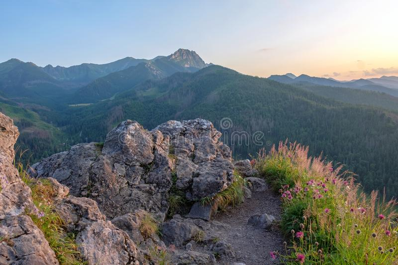 Mountain landscape at sunset, Zakopane, Poland, High Tatras, Nosal Mount, view of peak Giewont.  royalty free stock photos