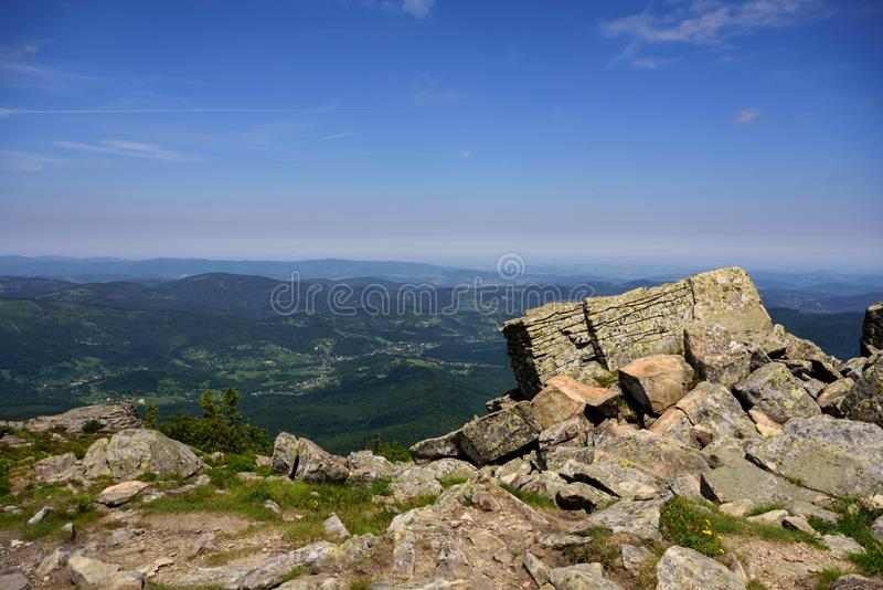 Mountain landscape in Tatra , Poland. Babia Gora peak. View to Slovakia royalty free stock images