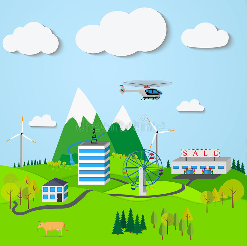 Mountain landscape with the town, windmills, trees vector illustration