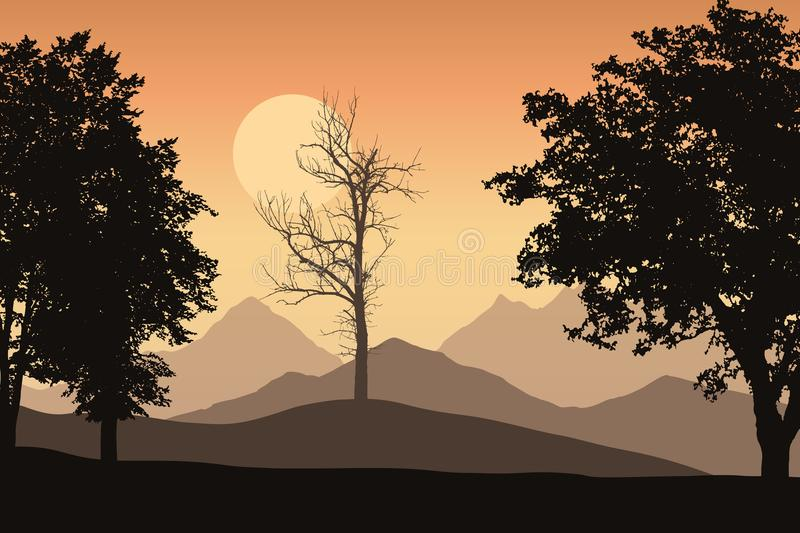 Mountain landscape with trees and one lone dead trees, the orange sky with the sun stock illustration