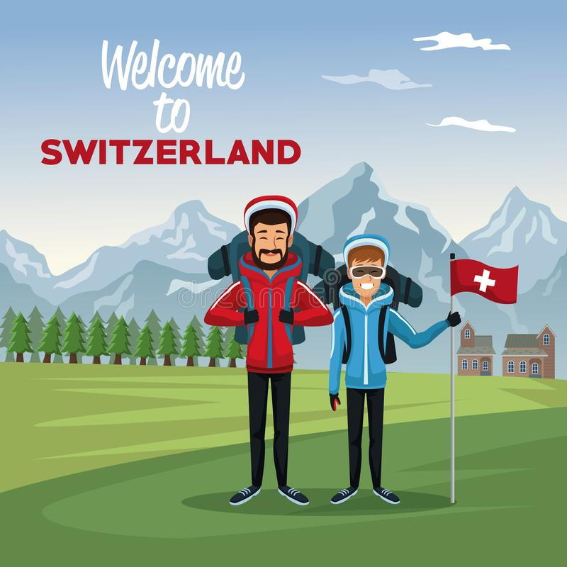 Mountain landscape valley poster with tourist couple people and text welcome to switzerland royalty free illustration