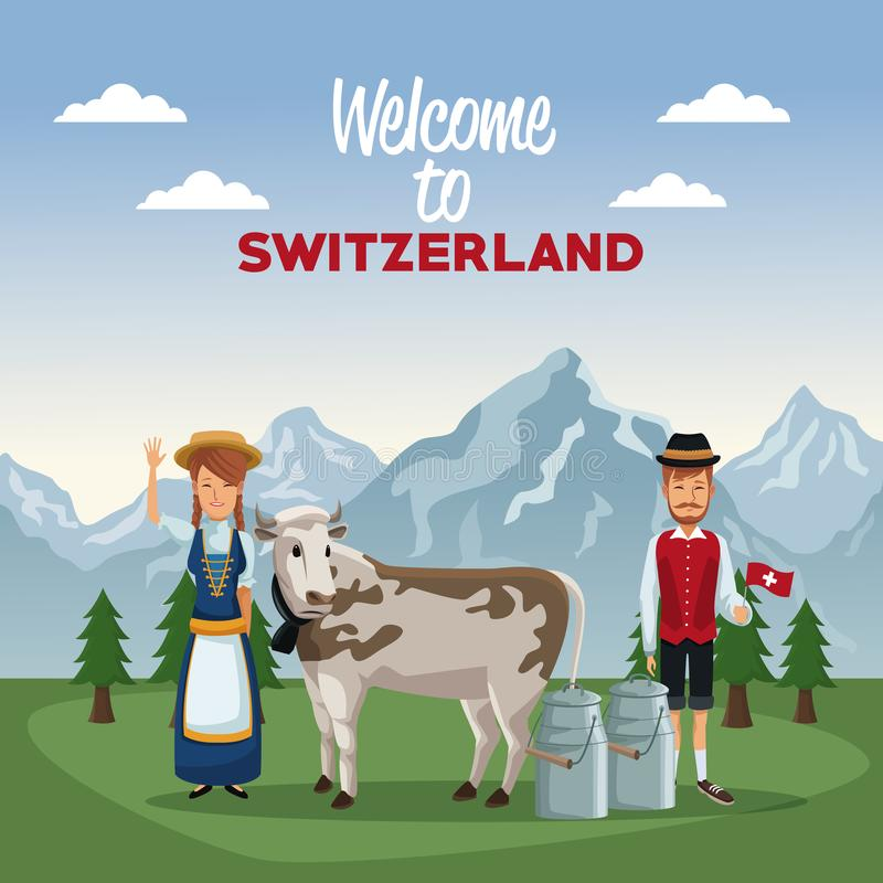Mountain landscape valley poster of welcome of switzerland with people of traditional costume and cow with metal jars royalty free illustration